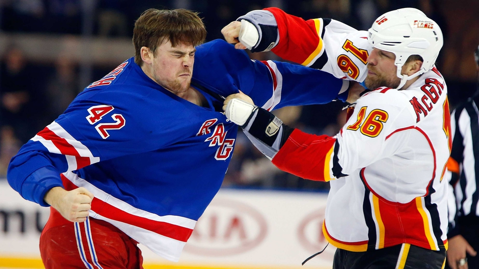 Fistycuffs between Brian McGrattan of the Calgary Flames and the New York Rangers' Dylan McIlrath at Madison Square Garden