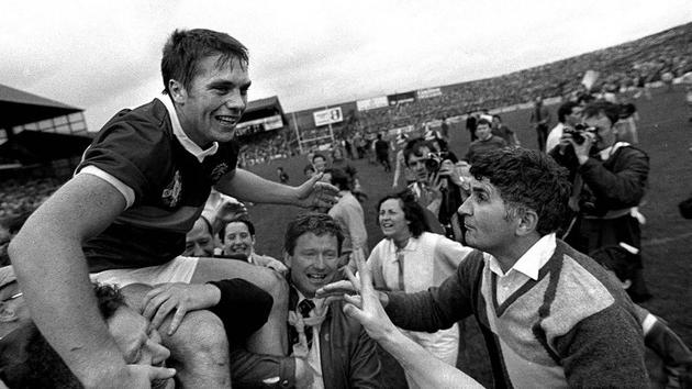 September 22, 1985: Páidí Ó Sé is held aloft alongside manager Mick O'Dwyer after victory over Dublin at the All Ireland Football Final at Croke Park. Photo: Ray McManus
