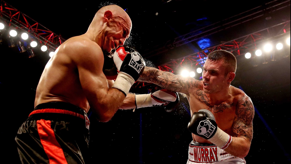 Martin Murray lands a right jab on the chin of Sergey Khomitsky during their Middleweight bout in London