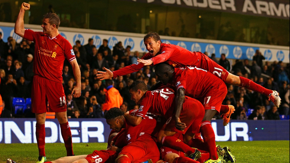 Liverpool's Jon Flanagan is mobbed after his goal against Tottenham at White Hart Lane