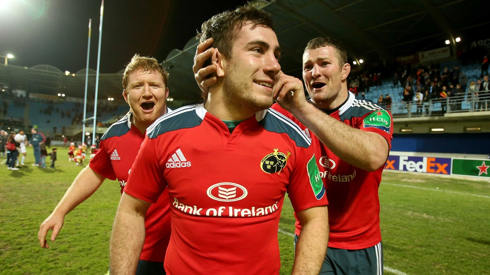 Stephen Archer, JJ Hanrahan and Donncha Ryan celebrate Munster's victory in Perpignan