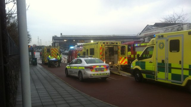 Emergency services at Kent Station after high winds caused damage (Pic: Paschal Sheehy)