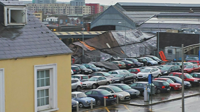 The canopy was blown onto cars in an adjoining car park (Pic: Noel Dolan)