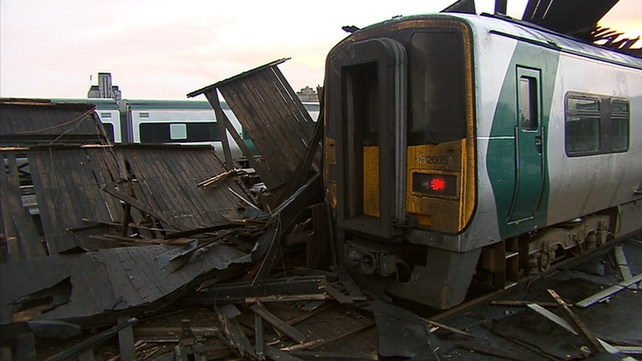 The canopy came down on a train that was not in service at the time in Kent Station, Cork
