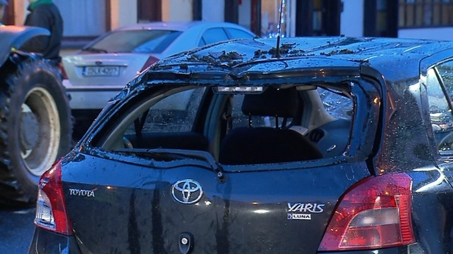 Two people were hurt after their car was hit by debris in Kilmallock