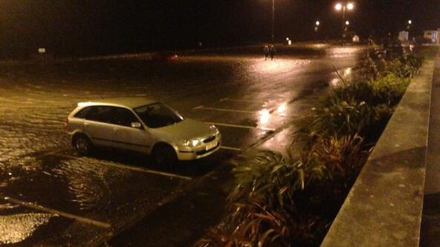 A car park flooded in Salthill, Co Galway