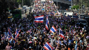 Thailand's National Security Council said only 6,500 people gathered at the busy Asoke intersection in central Bangkok