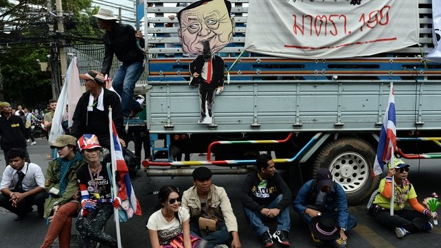 Protesters were criticial of former prime minister Thaksin Shinawatra