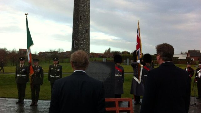 Mr Kenny and Mr Cameron at the Irish Peace Park in Flanders