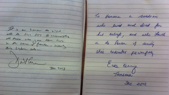 Mr Cameron and Mr Kenny left messages in the visitors' book at Redmond's grave