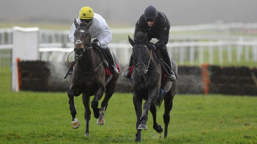 Big Buck's (near side) forges clear of a stablemate at Exeter as he nears his return to competitive action