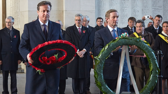 The two men lay wreaths at the Menin Gate memorial in Ypres