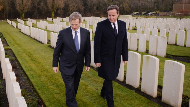 Taoiseach Enda Kenny and British Prime Minister David Cameron visit Wytschaete Military Cemetery