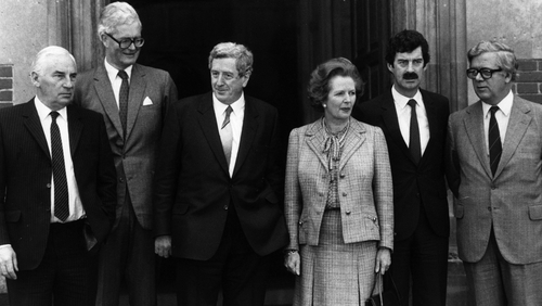Garret FitzGerald and Margaret Thatcher attend a meeting in London