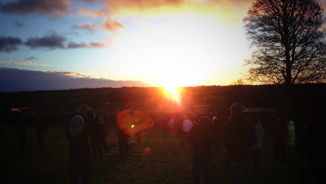 The sun rises over Newgrange this morning