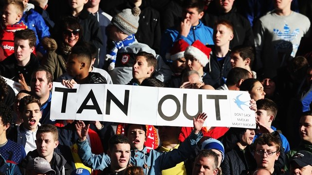 Cardiff fans protest against owner Vincent Tan at Anfield