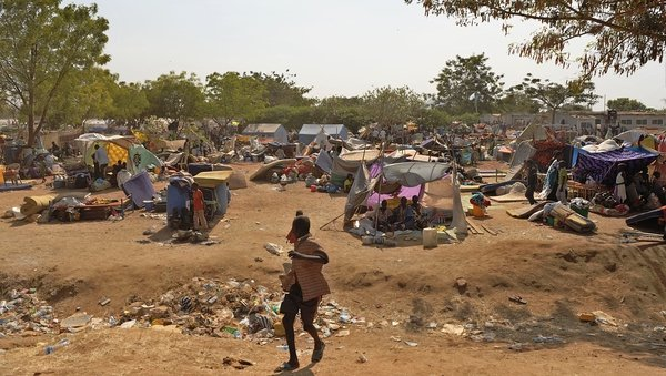 Makeshift shelters at the United Nations mission in South Sudan compound in Juba