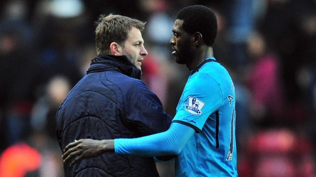 Tim Sherwood enjoyed the first win of his tenure as temporary Spurs boss as Emmanuel Adebayor bagged a brace in a 3-2 victory