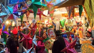 Christmas decorations are seen for sale at a roadside stall ahead of the holiday season in Allahabad, India