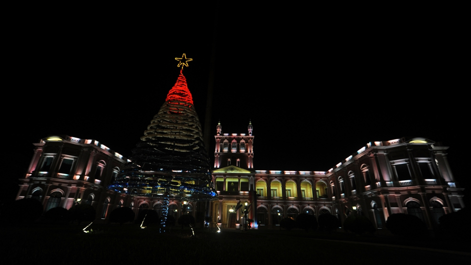 An eco-friendly Christmas tree is set up at the Government Palace in Asuncion