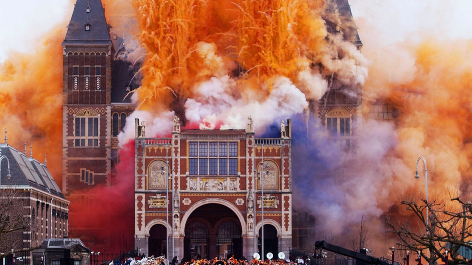 Fireworks announce the official opening of the Rijksmuseum in Amsterdam