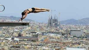 A diver trains at Montjuic local swimming pool in Barcelona in Spain