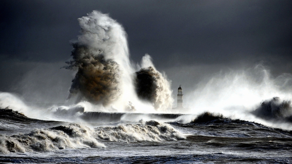 Gale force winds whip the sea up at Seaham Harbour in Durham (Pic: Owen Humphreys/PA Wire)