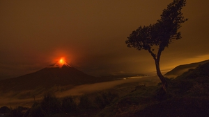 A view of the activity of volcano Tungurahua, seen from the village of Cotalo in Ecuador