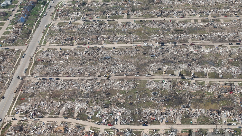 A major tornado destroyed large parts of the town of Moore in Oklahoma