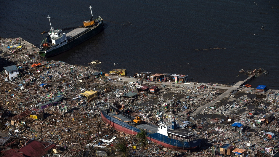 Ships were washed ashore during Typhoon Haiyan, which devastated the coastline of Leyte in the  Philippines
