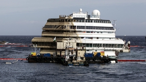 The cruise ship Costa Concordia in an upright position after the salvage operation in Giglio