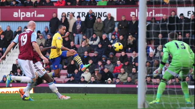Theo Walcott grabbed two goals as Arsenal fought back to win at West Ham