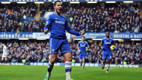 Eden Hazard celebrates what proved to be the winner