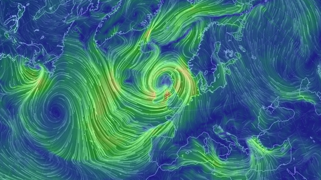 A visualisation of wind conditions over Ireland and the UK at 11am (Pic: earth.nullschool.net/)