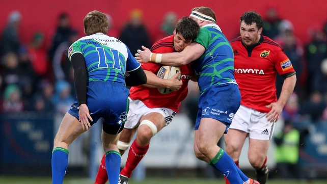 Munster's Donncha O'Callaghan is tackled by Connacht's Brett Wilkinson: both players will feature in today's clash at Thomond Park
