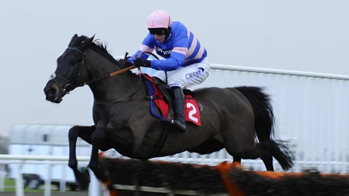 Daryl Jacob riding Vincenzo Mio clears the last to win the William Hill Juvenile Hurdle Race at Kempton Park