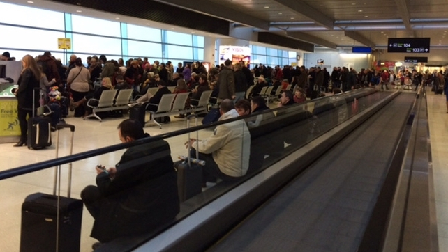 Hundreds of passengers wait for delayed flights at Terminal 1 Dublin Airport