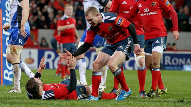 Keith Earls celebrates with try scorer JJ Hanrahan as Munster beat Connacht at Thomond Park