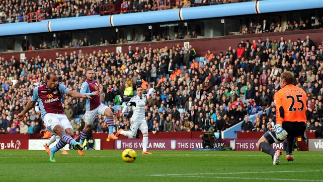 Gabby Agbonlahor opens the scoring at Villa Park