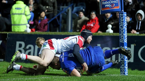 Jordi Murphy goes over for Leinster's first-half try