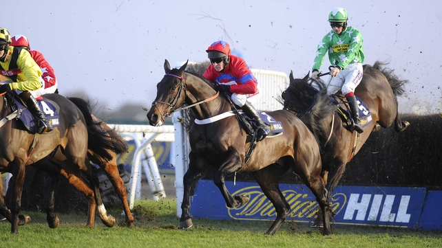 Sprinter Sacre (c) was pulled up by Barry Geraghty in the Desert Orchid Chase at Kempton