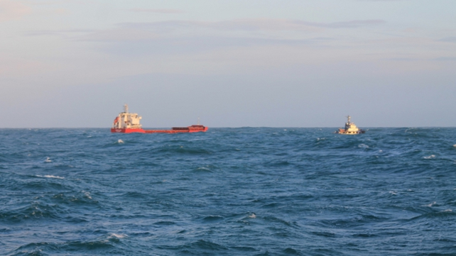 The Abuk Lion is being towed back to shore after suffering engine failure (Pic: Defence Forces)