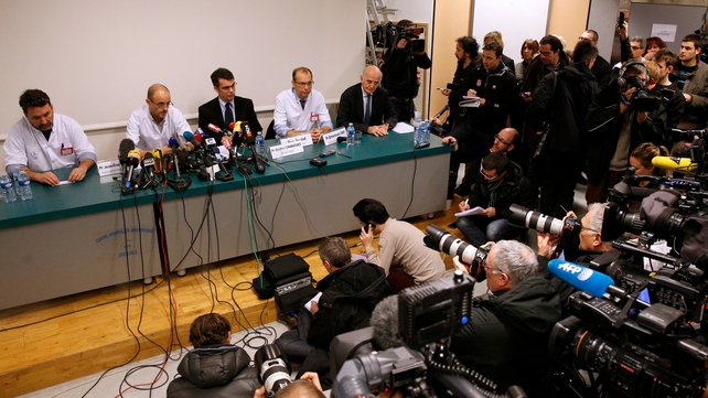 Doctors from the Centre Hospitalier Universitaire hold a press conference at the hospital in Grenoble, near the French Alps