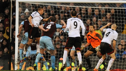 Steve Sidwell rose above the West Ham defence to put the Cottagers in front