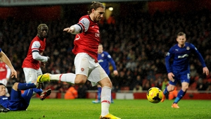 Nicklas Bendtner fired Arsenal ahead in the 88th minute