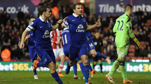 Leighton Baines was successful from the spot but Everton drop out of the top four