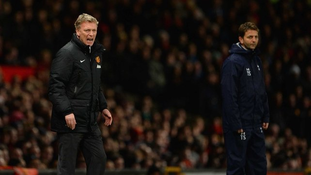 An animated David Moyes attempts to rouse his troops at Old Trafford