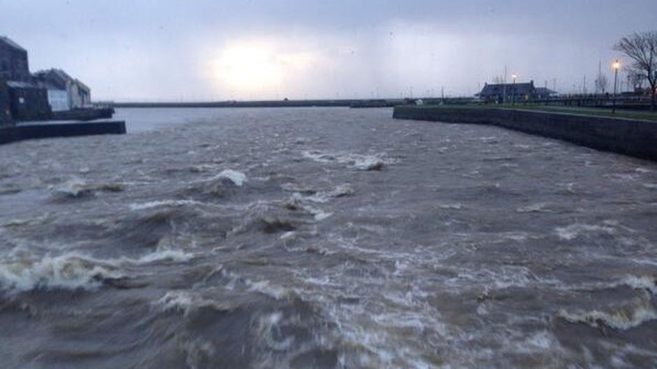 High tides and strong winds caused flooding in parts of Galway city