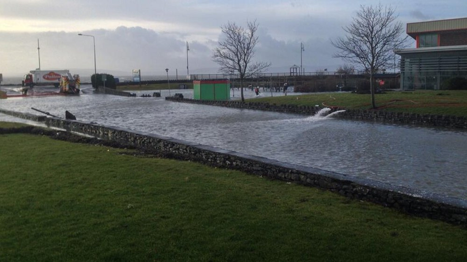 Flood water is pumped from Leisureland in Galway