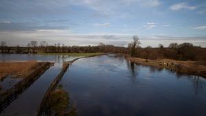 Flooding along the River Barrow on the Kildare/Laois border (Pic: Photocall/Eamonn Farrell)